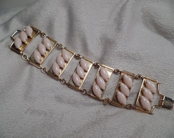 1950's Bracelet with Soft Pink Glass Stones