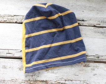 skate hat, stocking stuffer, yellow blue hat, striped winter hat, striped slouch hat, beanie hat, handmade, unique gift, boys hat, girls hat