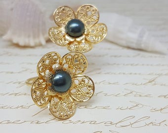 Art Deco Flower Ring, Lace Flower Ring, Bridesmaid Ring, Gold Filigree Flower Ring With Blue Pearl, Something Blue Ring, Pearl Bridal Ring