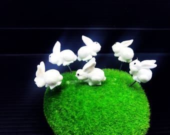Set 5 pcs. Terrarium Mini White Rabbit Stake Miniature Dollhouse Fairy Garden accessories