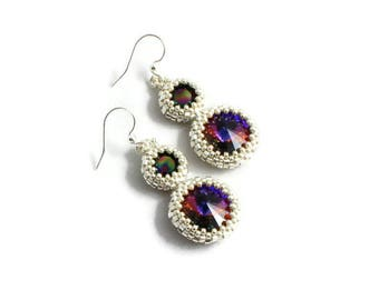 Crystal Drop Earrings - Silver Dangle Earrings - Beaded Jewelry - Purple Earrings - Volcano Crystal - Gift for Her - Stocking Stuffer