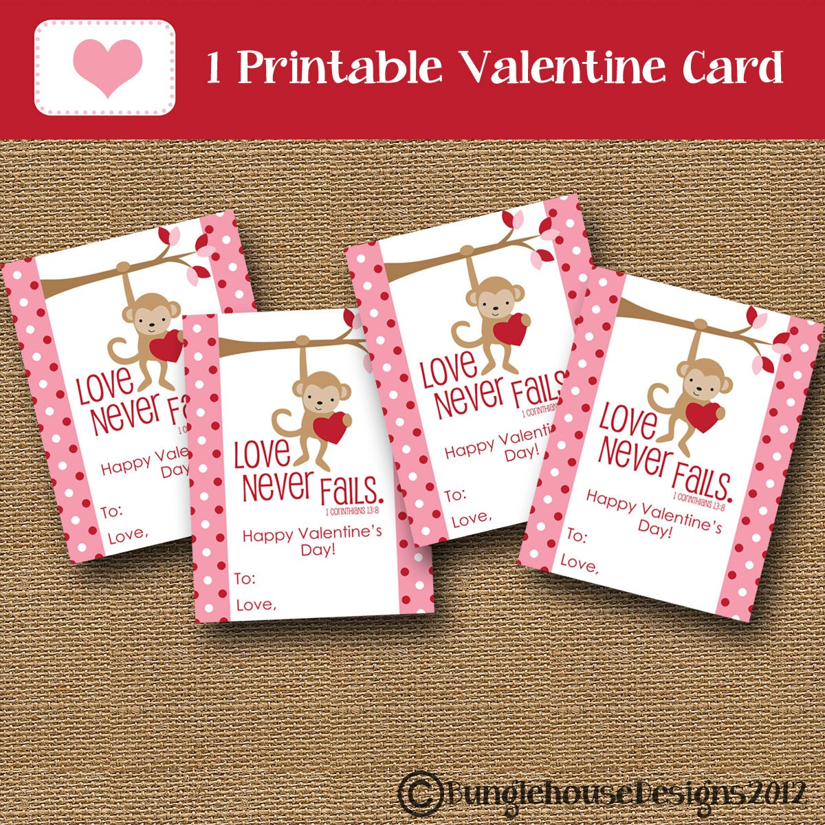 Kids Valentine Card Monkey Valentine DIY PRINTABLE