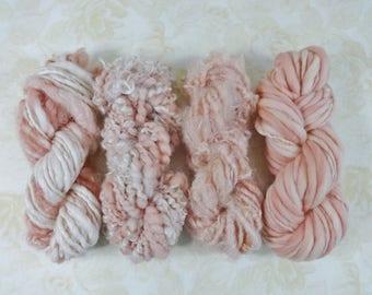 Handspun Art Yarn Knitting Weavers Pack 4 Mini Skeins Collection peach pink dahlia