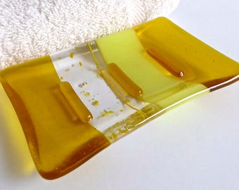 Fused Glass Soap Dish in Yellow by BPRDesigns