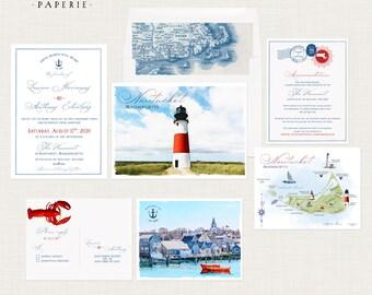 Nantucket Massachusetts Illustrated Destination wedding invitation nautical coastal wedding lighthouse map - Deposit Payment
