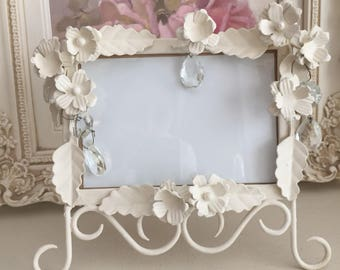 SALE*** Shabby Chic Metal Picture Frame  - Metal Flowers - Prisms - Wedding Frame Decor
