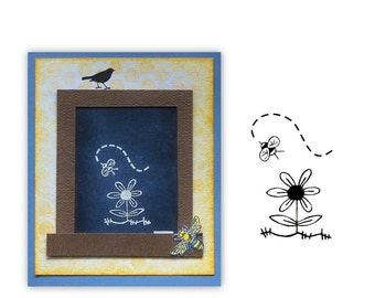 Bee and Flower unmounted rubber stamp Summer, buzzy honey bee, flying bug, bumblebee, Sweet Grass Stamps  #9