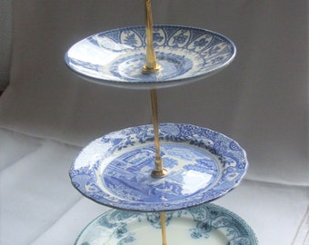 Unique Three Tier Mis Matched Antique and Vintage Blue and White Cake Stand with Gold Tone Metal Fixings