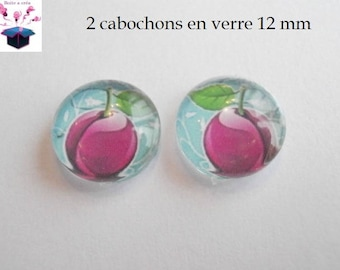 2 glass cabochons 12 mm for ring or loop slice fruit theme