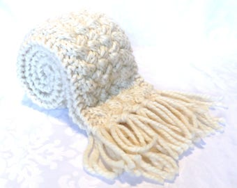 Hand Knit Aran Scarf / Aran Cable Weave Hand Knit Scarf / Irish Knit Scarf / Chunky Scarf / Long Winter Scarf / Warm Winter Scarf / Scarf301