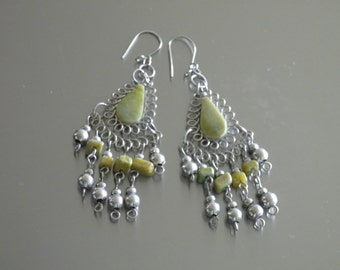 Green Earrings w/ Serpentine Stone 2.75 Inches Long