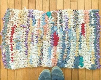 Rag Rug Hand Made Crochet Vintage