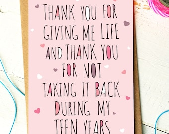 Mothers Day Card - Mum Birthday Card - Mum Card - Mom Card - Thank You Mum - Thank You Mom - Funny Birthday Card - Birthday Card Mum