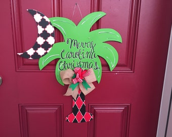 Christmas door hanger, palm tree Christmas, palmetto Christmas, South Carolina door hanger, holiday door hanger, southern door hanger
