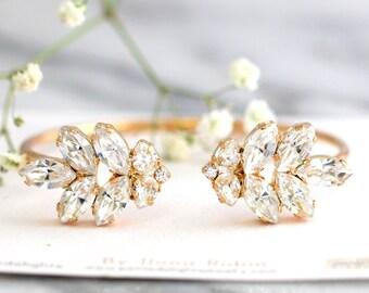 Bridal Wedding Bracelet, Swarovski Crystal Bracelet, Bridal Crystal Cuff, Bridesmaids Jewelry, Cuff Bracelet, Open cuff Crystal Bracelet