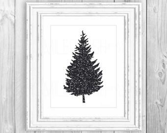 Christmas Tree Printable Christmas Print Black and White Christmas Sign Black Sparkle Print Black Glitter Print Black Christmas Wall Hanging