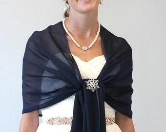 Mother's Day Sale Bridal shawl wrap, Navy Blue Chiffon Shawl, Wedding Stole, Evening Wrap, #7139