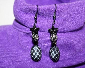 Hanging Black Beaded Pierced Earrings