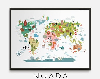 World map nursery etsy animal world map kids world map animal map world map for kids gumiabroncs Image collections