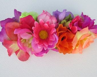 Festival flowers,  multi colour barrette, bridal barrette, tropical wedding, boho barrette, floral fascinator, silk flowers, beach wedding