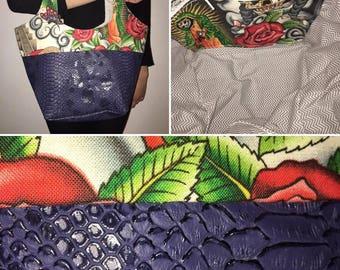 Navy bag and Aztec print