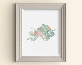 Octopus Silhouette flowers floral art print Hipster Art Print Floral Flowers Art Print Modern Minimalist Art Print Housewarming Gift