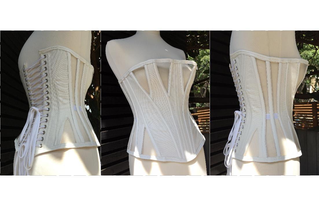 Corset Pattern Edith an 8 panel gusseted demi-bust corset