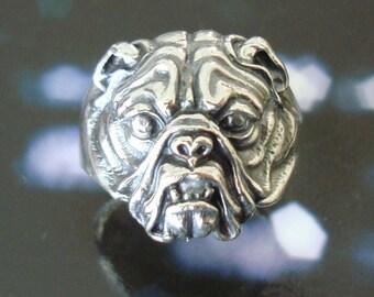 Solid 925 Sterling Silver Bulldog Ring