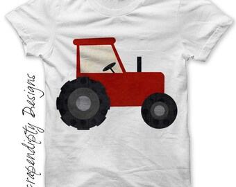 Iron on Tractor Shirt PDF - Farm Iron on Transfer / Kids Farm Birthday Party / Toddler Tractor Clothes / Red Tractor Tshirt / Print IT257