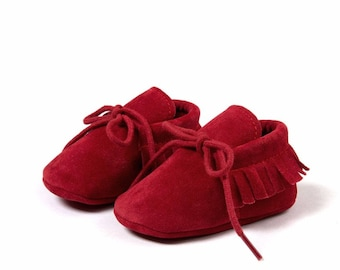 Maroon Suede Lace Shoes, Baby Shoes, Baby Girls Shoes, Baby Boy Shoes, Suede Lace Moccasins, Baby Moccasins, Newborn Moccasins