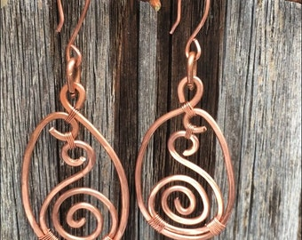 SPIRAL HAMMERED; Copper Earrings