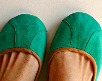 ISLANDER- Ballet Flats - Suede Shoes -40- SEA GREEN. Available in different colours & sizes