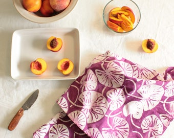 magenta lilypad tea towel