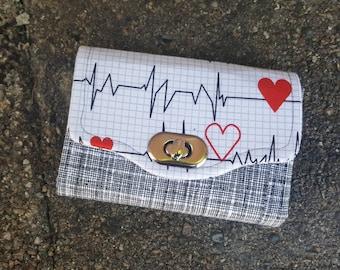 Mini NCW Wallet | Nurse Love & Blood Splatter | Necessary Clutch Wallet | red + black + white