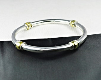 Mexico 925 Sterling Bangle with A Gold Tone Overlay on Beads - Signed 925 Mexico - Brac-10013a-042618000k