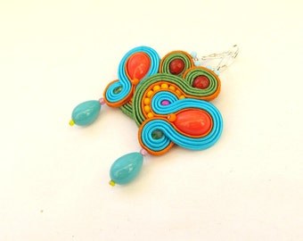 Colorful Dangle Drop Earrings, Soutache Earrings, Summer Earrings, Handmade Earrings, Dangle Earrings, Drop Earrings, Colorful Earrings
