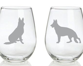 German Shepherd Glass FREE Personalization