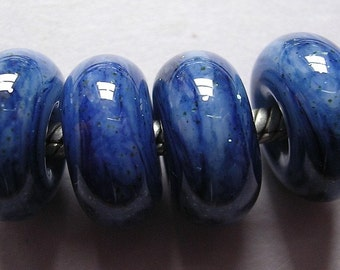 Handmade Glass Blue Lampwork Beads European Charm Bead  BHB Ericabeads Denim Sparkle (4)