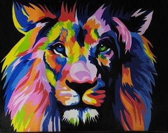 Lion - Hand Painted Acrylic on Canvas - 80cm x 60cm