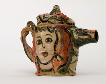 Teapot with Drawings of Face