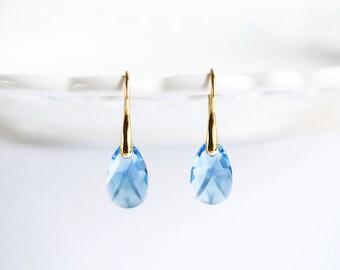Aquamarine earrings Bridal earrings Something blue SWAROVSKI crystal earrings Bridesmaid Blue earrings Gold earrings Drop earrings 769.