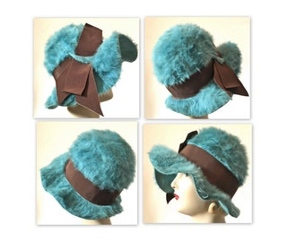 Vintage 60s Fluffy Cloche Hat 21 to 22 Turquoise with a Large Ribbon Flourish
