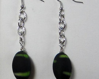 Black Earrings with Lime Green Stripe