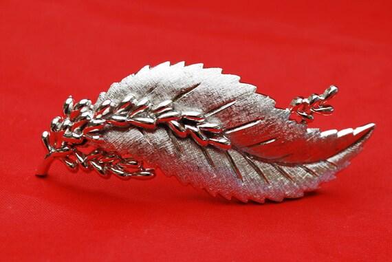 Crown Trifari  Silver Leaf Brooch - Mid century -  Large Swirl Floral  Pin