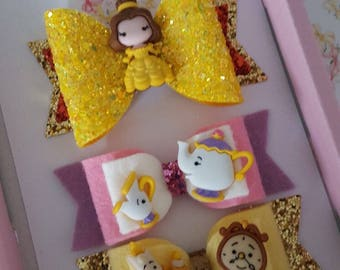 Hand made SET of 3 Mrs Potts and Chip, tea set, beauty and the beast, character inspired hair bow glitter girls