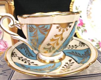 Royal Stafford Tea Cup and Saucer Blue & Gold Gilt Swirls Teacup
