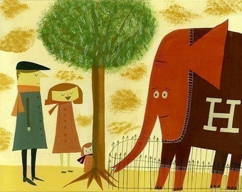 The Abernathy family & Humbert the rare red sweater wearing elephant.  Limited edition print by Matte Stephens.