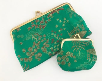 Green Chinese brocade coin purse set of two