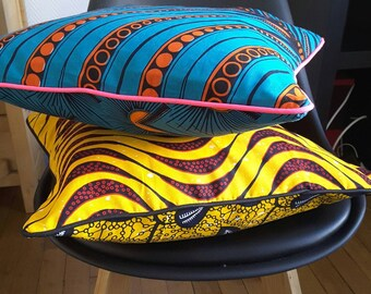 Pillow cover in wax fabric colorful 30 x 30-40 x 40-60 x 60 or customized