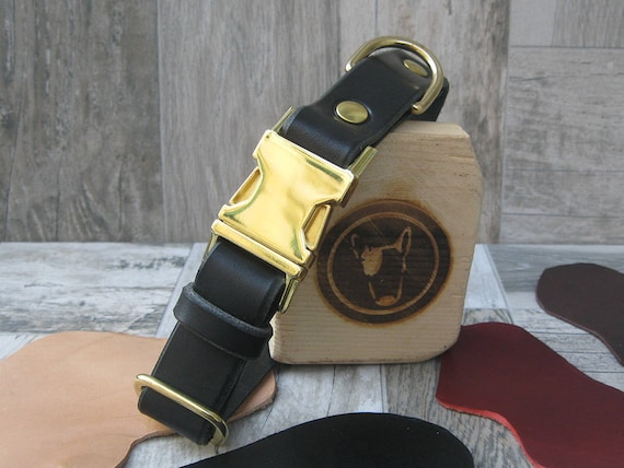 "Breakaway Black Dog Collar, Leather Dog Collar, 1"" Wide Collar, Side Release Metal Buckle, Brass Hardware Dog Collar, Comfort Dog Collar"